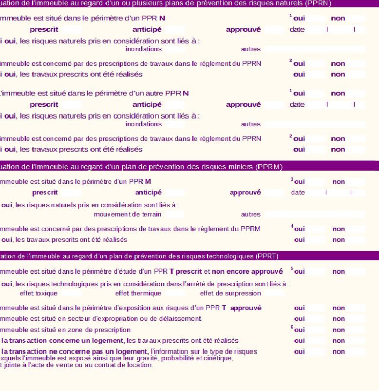 2ème extrait du formulaire d'etat des risques et pollutions ERP